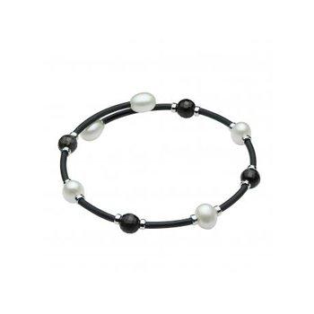 Freshwater Pearl & Quartz Bangle Bracelet