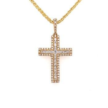 Diamond Multi Row Cross Pendant