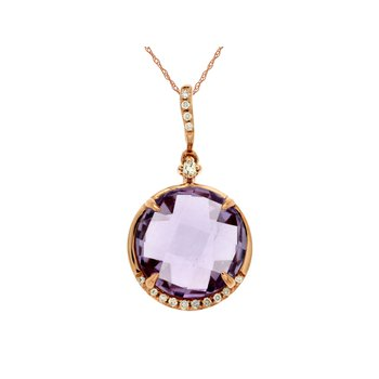 Amethyst & Diamond Pendant Necklace