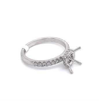 Round Diamond Engagement Ring With Diamond Collar