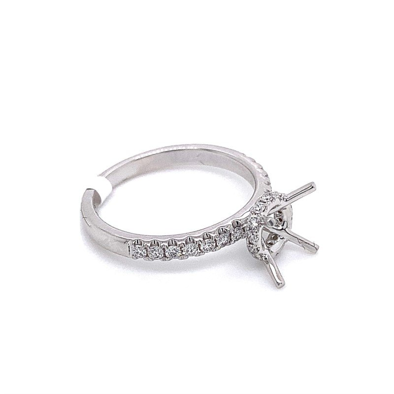 Murphy Pitard Signature Collection Round Diamond Engagement Ring With Diamond Collar