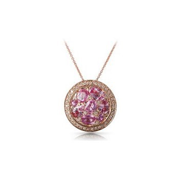 Pink Sapphire & Diamond Halo Pendant Necklace
