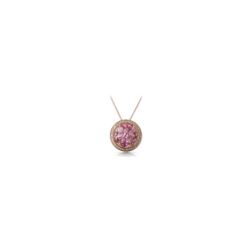 Murphy Pitard Signature Collection Pink Sapphire & Diamond Halo Pendant Necklace