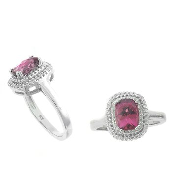 Pink Tourmaline & Diamond Double Halo Ring