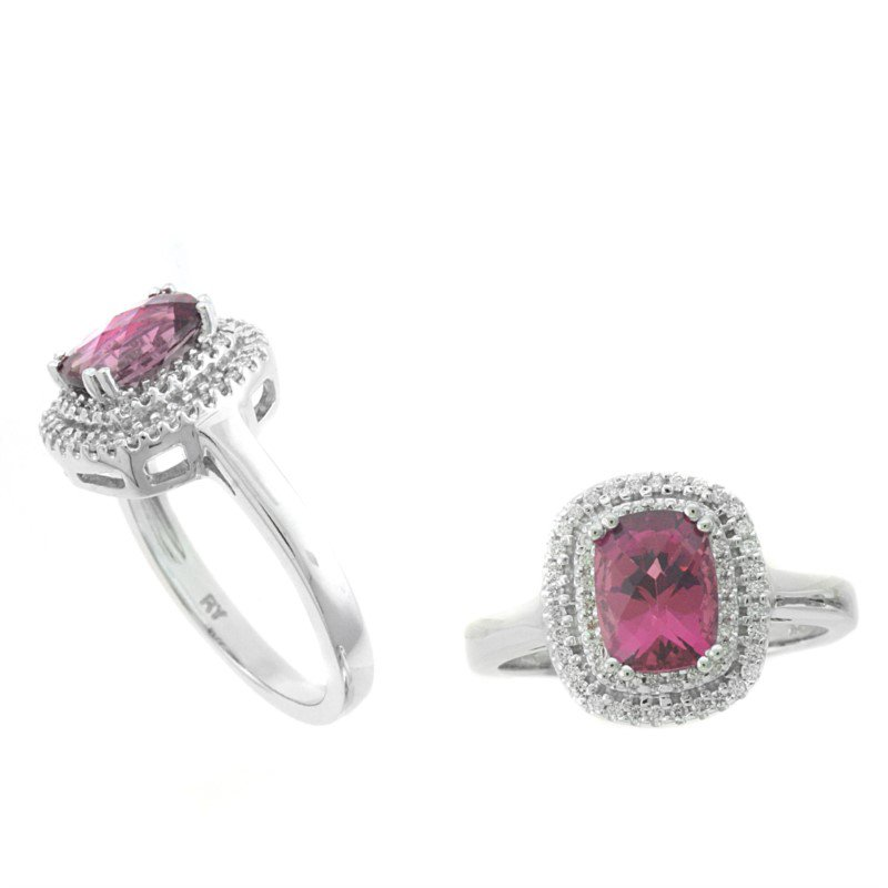 Murphy Pitard Signature Collection Pink Tourmaline & Diamond Double Halo Ring