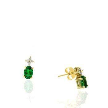 Oval Emerald & Diamond Drop Earrings