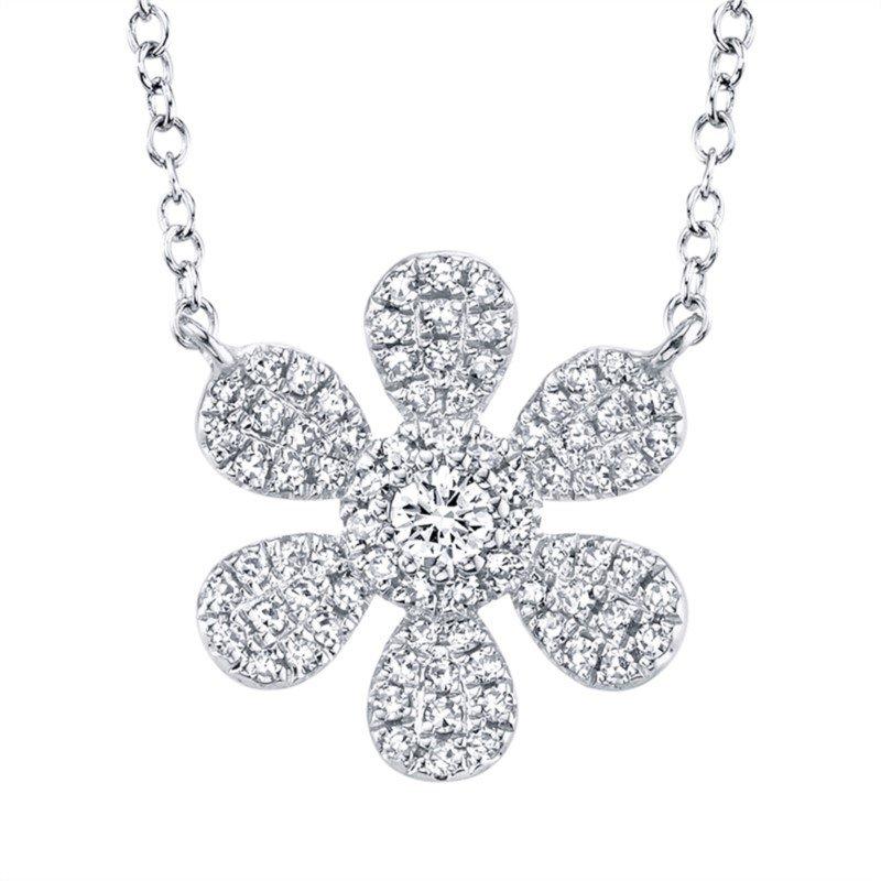 Shy Creation Diamond Flower Pendant Necklace