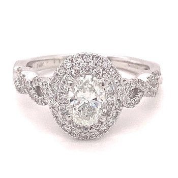 Oval Diamond Double Halo Engagement Ring