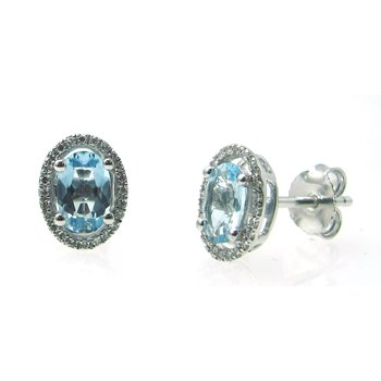 Aquamarine & Diamond Halo Stud Earrings