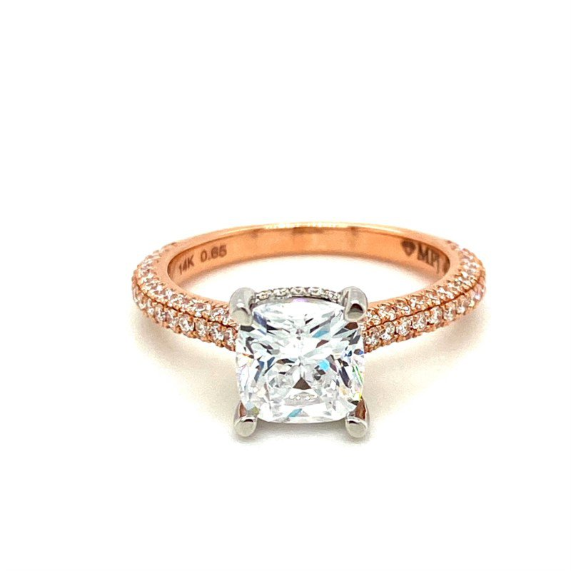 Diamond Pavé Two-Toned Oval Engagement Ring