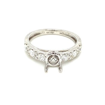 Diamond & Milgrain Accented Round Engagement Ring