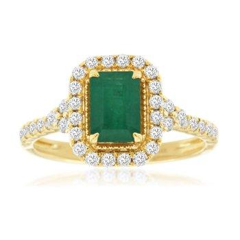 Emerald Cut Emerald & Diamond Halo Ring
