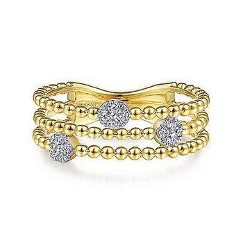Diamond Cluster Station Beaded Fashion Ring