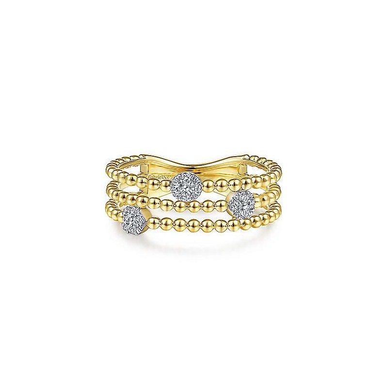 Gabriel & Co. New York Diamond Cluster Station Beaded Fashion Ring