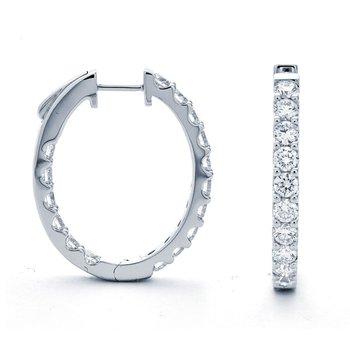 Medium 2 1/2 Carats Diamond Inside Out Hoop Earrings