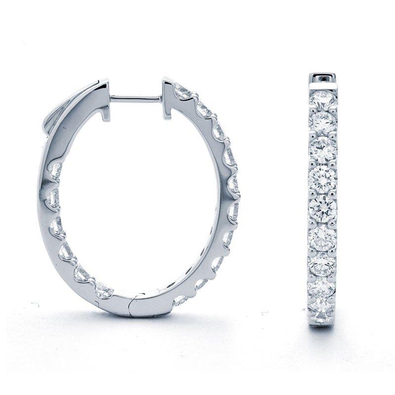 Murphy Pitard Signature Collection Medium 2 1/2 Carats Diamond Inside Out Hoop Earrings