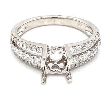 Diamond Triple Row Split Band Engagement Ring