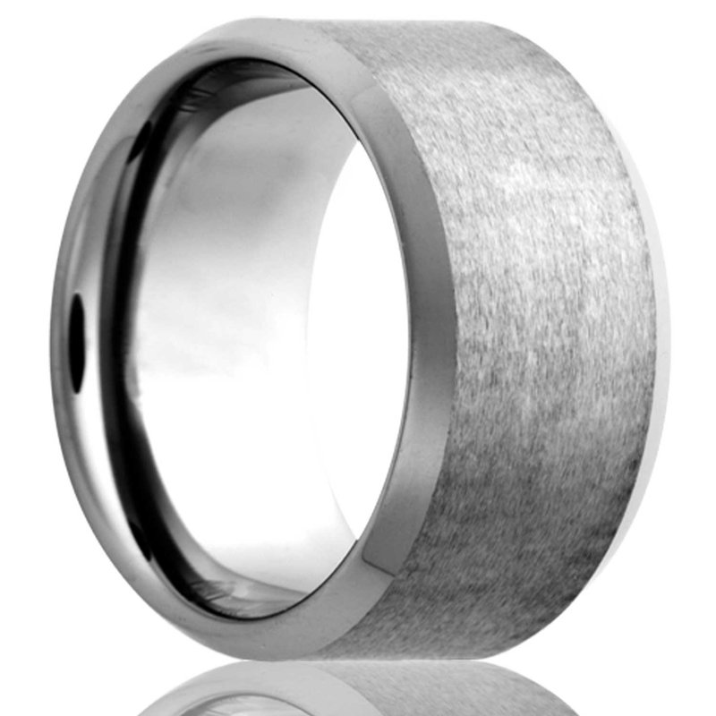 Murphy Pitard Signature Collection Men's Beveled Edge Cobalt Wedding Band, Size 12