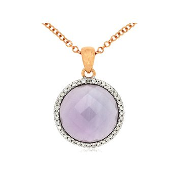 Amethyst & Diamond Halo Pendant Necklace