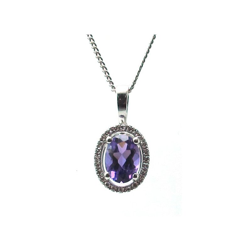 Murphy Pitard Signature Collection Amethyst & Diamond Halo Pendant Necklace