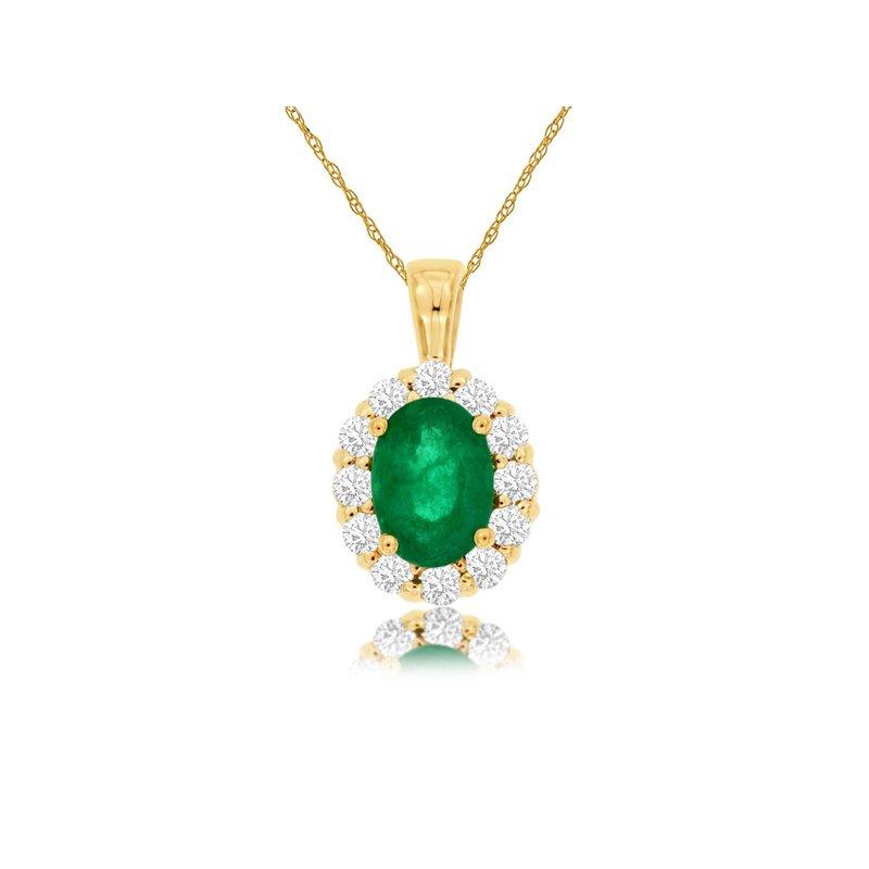 Murphy Pitard Signature Collection Emerald & Diamond Pendant Necklace