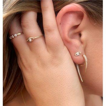 Diamond Evil Eye Stud Earrings