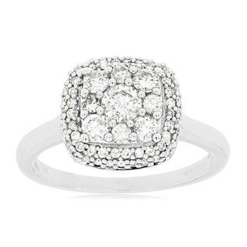 Diamond Cluster Halo Engagement Ring
