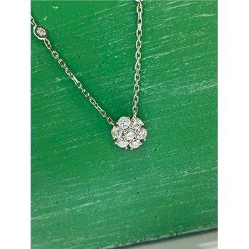 Diamond Floral Pendant Station Necklace