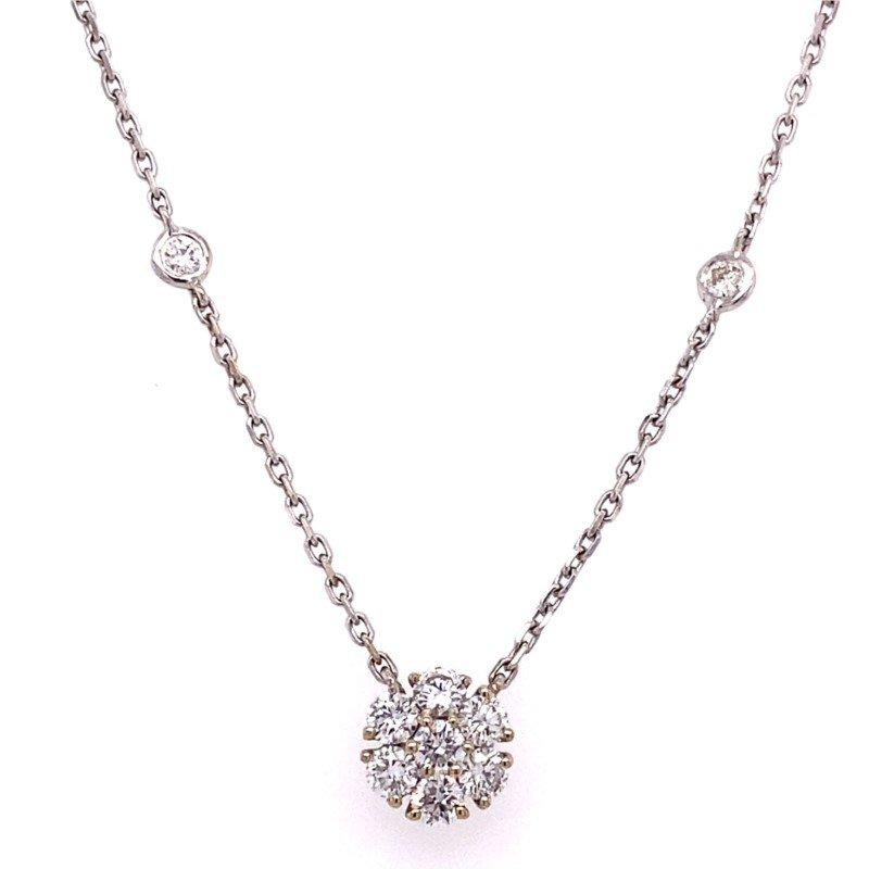 Murphy Pitard Signature Collection Diamond Floral Pendant Station Necklace