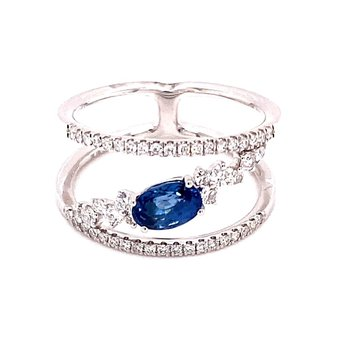Diamond and Sapphire Split Band Ring