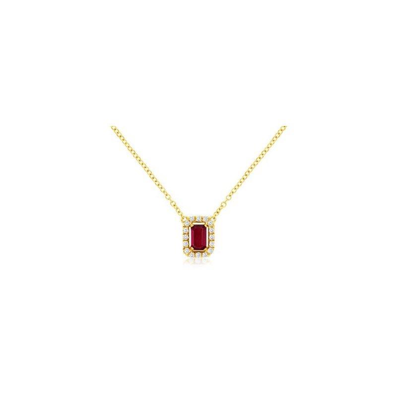 Murphy Pitard Signature Collection Ruby & Diamond Halo Necklace