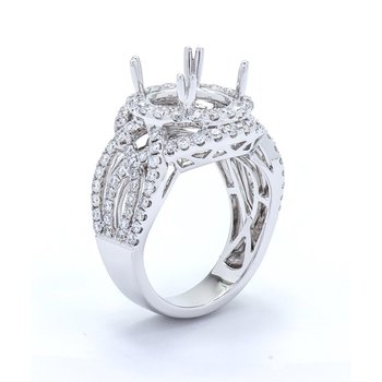 Diamond Double Halo Mulit-row Engagement Ring