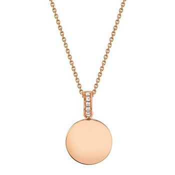 Diamond Accented Disc Pendant Necklace