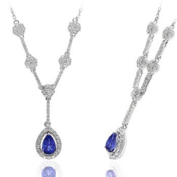 Diamond & Tanzanite Fashion Drop Necklace