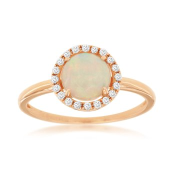Round Halo Opal  & Diamond Ring