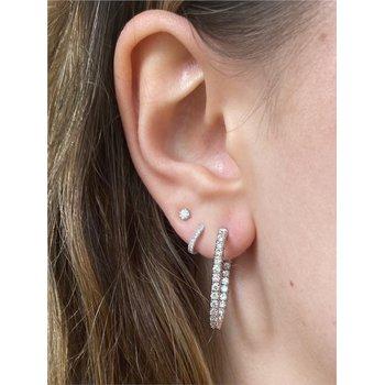 Diamond .90  Carats Medium Hoop Earrings