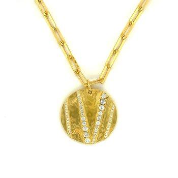 """Venice """"V"""" Disc Necklace"""