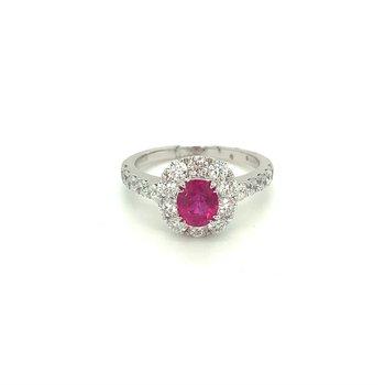 Oval Ruby & Diamond Halo Ring
