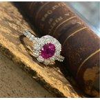 Murphy Pitard Signature Collection Oval Ruby & Diamond Halo Ring