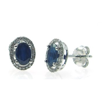 Sapphire & Diamond Halo Stud Earrings