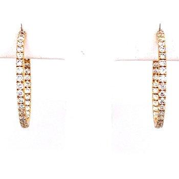 Yellow Gold Diamond Inside-Out Hoop Earrings