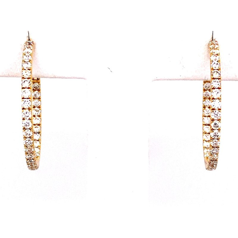 Murphy Pitard Signature Collection Yellow Gold Diamond Inside-Out Hoop Earrings
