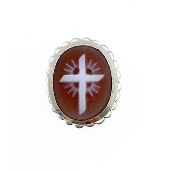 Red Cameo Cross Oval Bezel