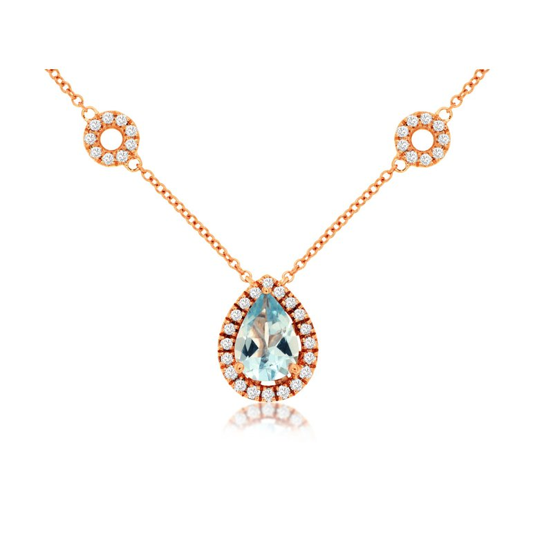 Murphy Pitard Signature Collection Aquamarine & Diamond Halo Fashion Necklace