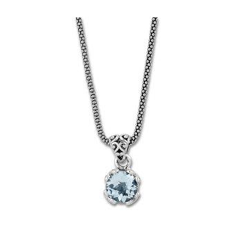 Blue Topaz Drop Pendant Necklace