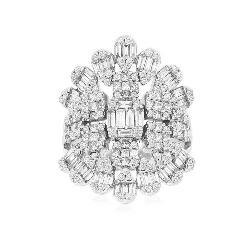 Murphy Pitard Signature Collection Diamond Cluster Right Hand Fashion Ring