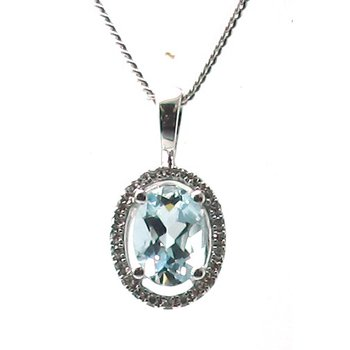 Aquamarine & Diamond Halo Pendant Necklace