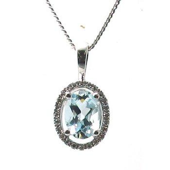 Aquamarine & Diamond Halo Pendant Necklace