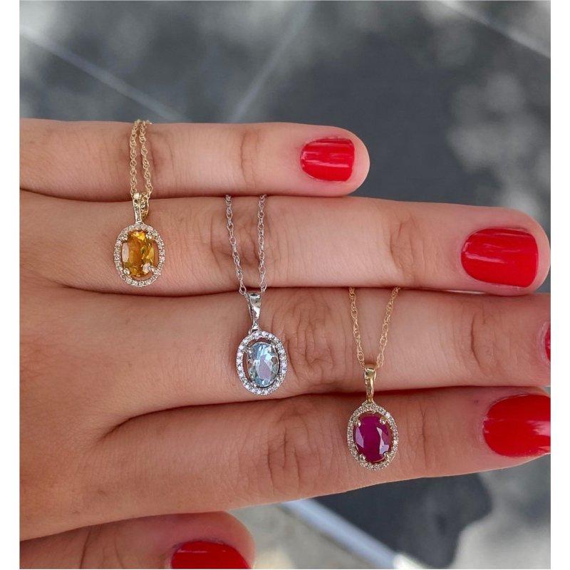 Murphy Pitard Signature Collection Aquamarine & Diamond Halo Pendant Necklace