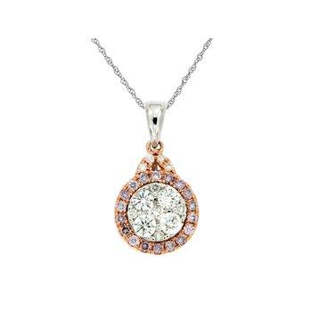 Diamond & Pink Diamond Halo Pendant Necklace